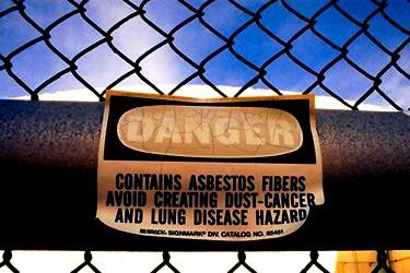 asbestos fibers danger sign