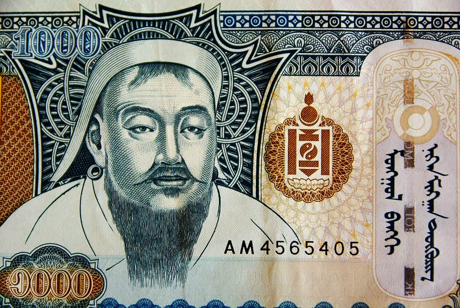 Genghis Khan on Mongolian Bank Note