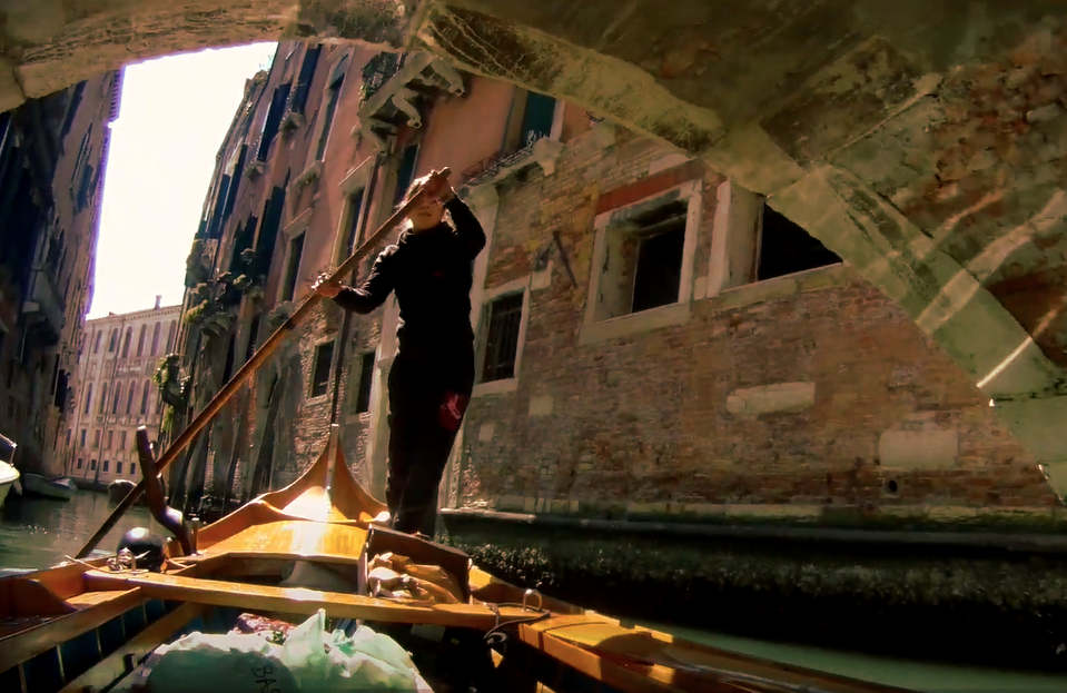 rowing through venice canals