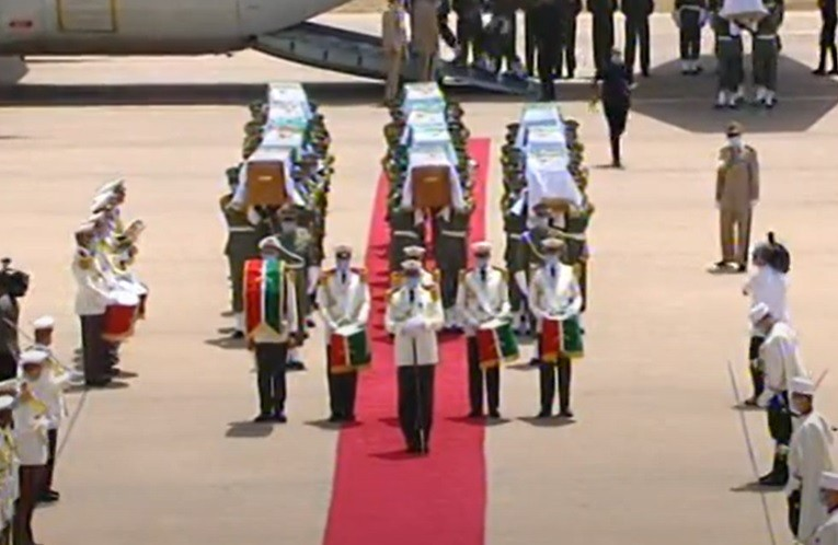 The Algerian freedom fighters' skulls were received in an official ceremony